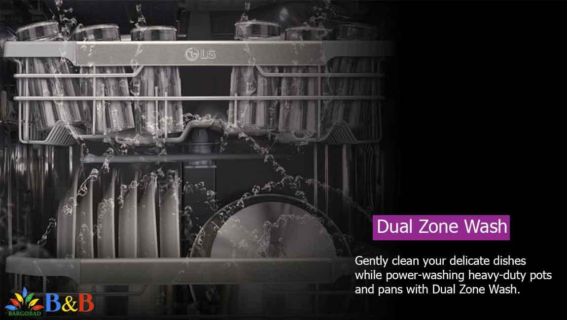 Dual Zone Wash در ظرفشویی ال جی 425