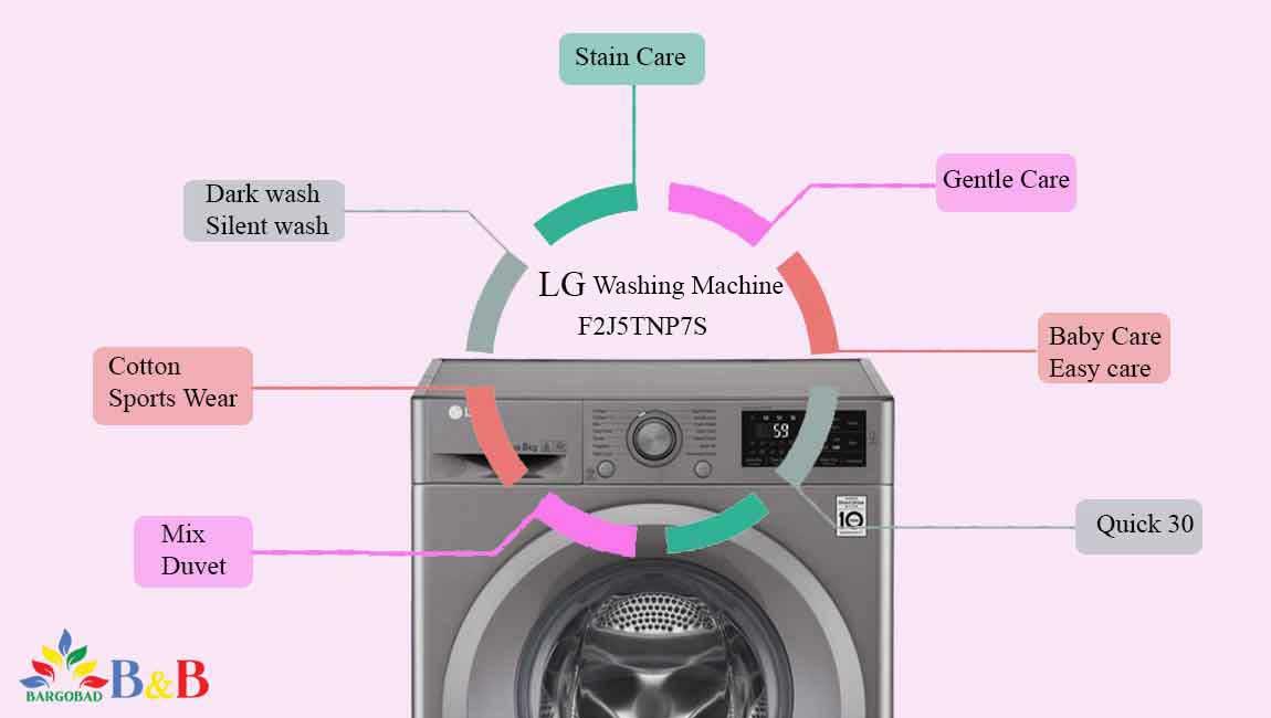 برنامه های شستشو در لباسشویی ال جی F2J5