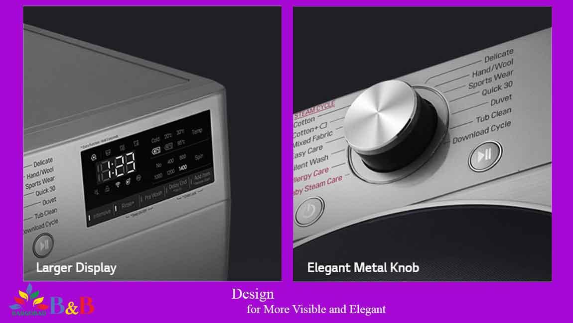 طراحی ماشین لباسشویی 10.5 کیلو ال جی F4V5