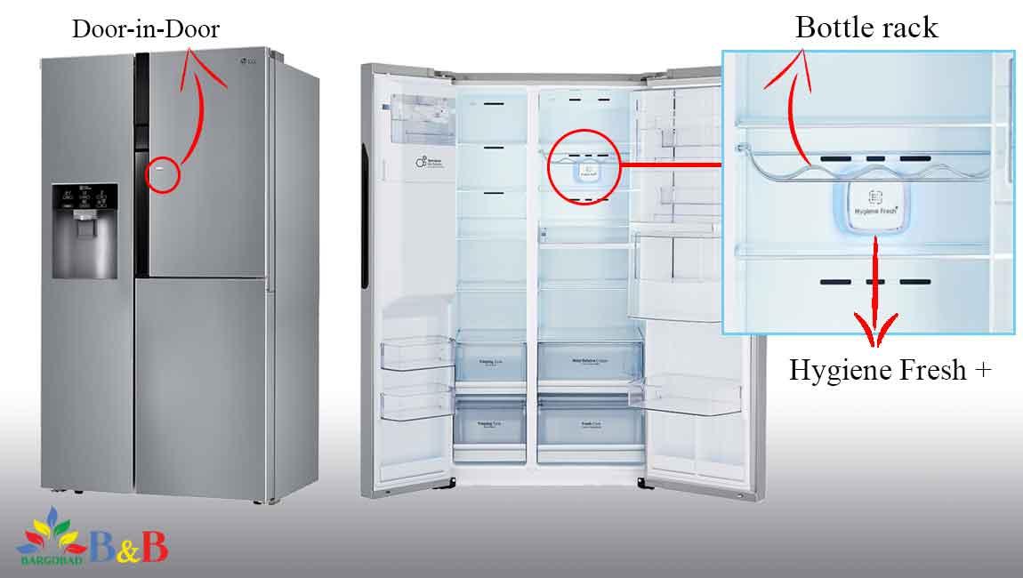 طراحی داخلی یخچال ساید بای ساید ال جی J247