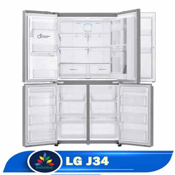 فضای داخلی یخچال ساید بای ساید ال جی J34