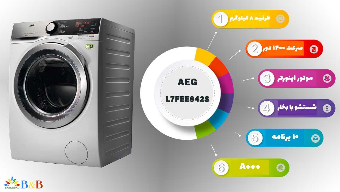 معرفی ماشین لباسشویی 8 کیلو آاگ L7FEE842S