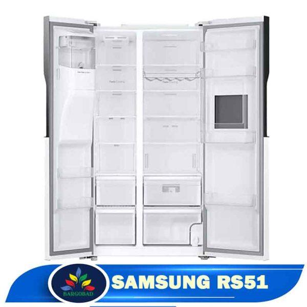 فضای داخلی یخچال ساید بای ساید 30 فوت سامسونگ RS51