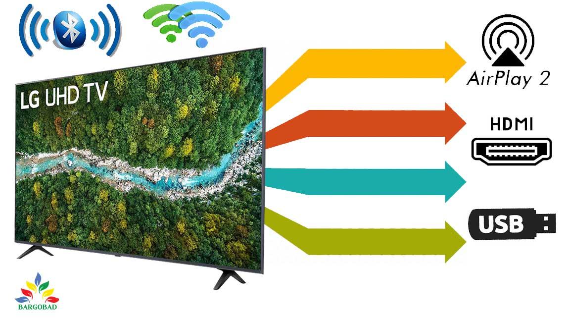 پورت ها و درگاه های ارتباطی تلویزیون ال جی UP7750