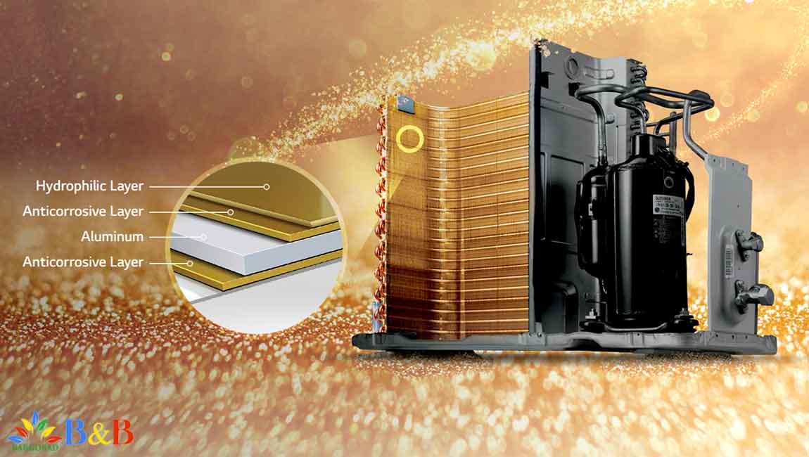 رادیات طلایی کولر گازی دوال اینورتر 24000