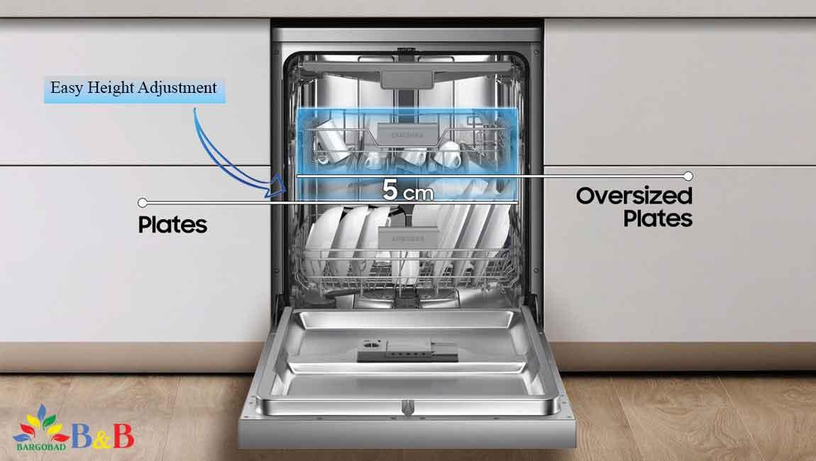 قابلیت تنظیم ارتفاع قفسه ها در ظرفشویی سامسونگ 5070