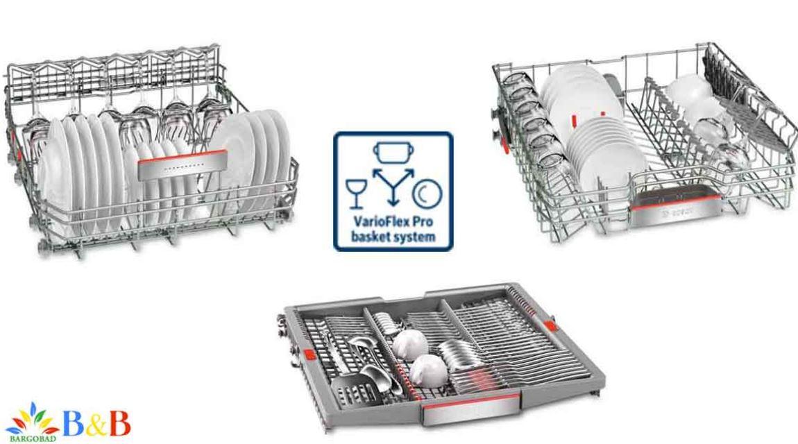قابلیت تنظیم ارتفاع سبدها در ماشین ظرفشویی بوش 88TW02E